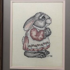 Vintage Wall Art - Vintage CrossStitch painting of Bunny